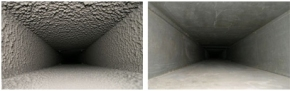 Before and after photos of a dirty and clean duct